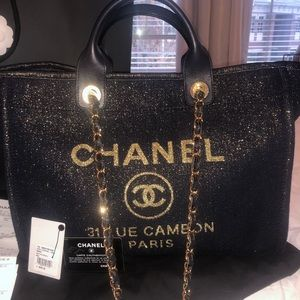CHANEL DEAUVILLE 19A GOLD AND NAVY METALLIC TOTE